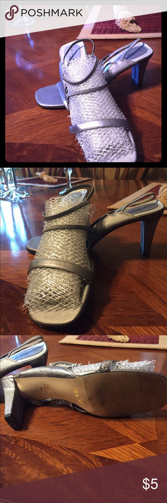 Sandals 🌸 Silver strappy sandals; noted wear and tear, see photos. Reflected in pricing Shoes Sandals