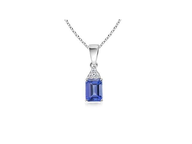 Angara Emerald-Cut Tanzanite Pendant with Diamond Trio