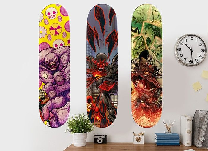 The Villains are taking over in these Wall-Ah! original Justice League set of 3 skateboard wall decals! Show off your allegiance with these cool skateboard wall graphics. These rad wall art pieces are from Wall-Ah!'s DC Justice League collection. Complete the room by adding any of our other wall decals from our DC Justice League collection!