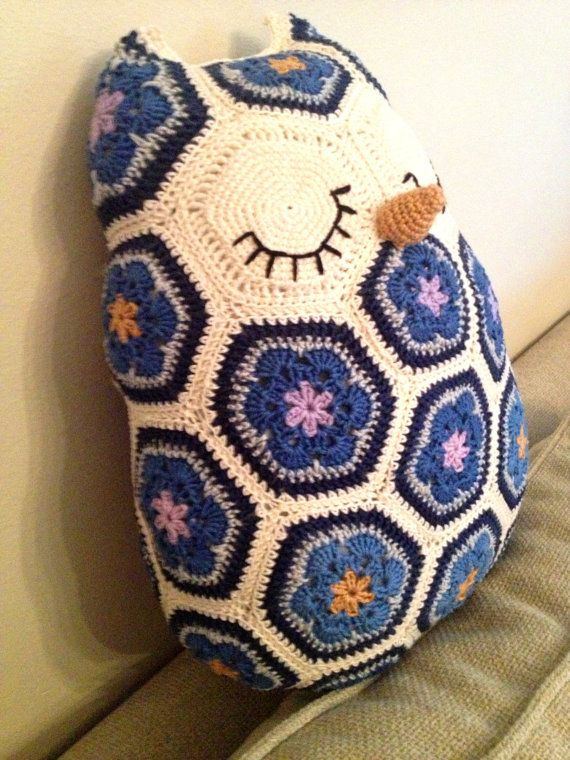 Crochet Pattern Maggie The African Flower Owl Pillow Owl Pillow