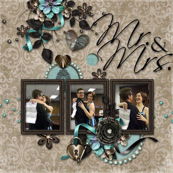 Mr. & Mrs. Wedding Premade Digital Scrapbook Page - ONE-OF-A-KIND. $5.00, via Etsy.
