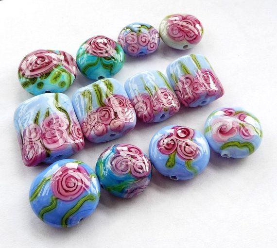Pink roses orphan beads 12 pcs / SRA by Beadsagogo on Etsy, $35.00