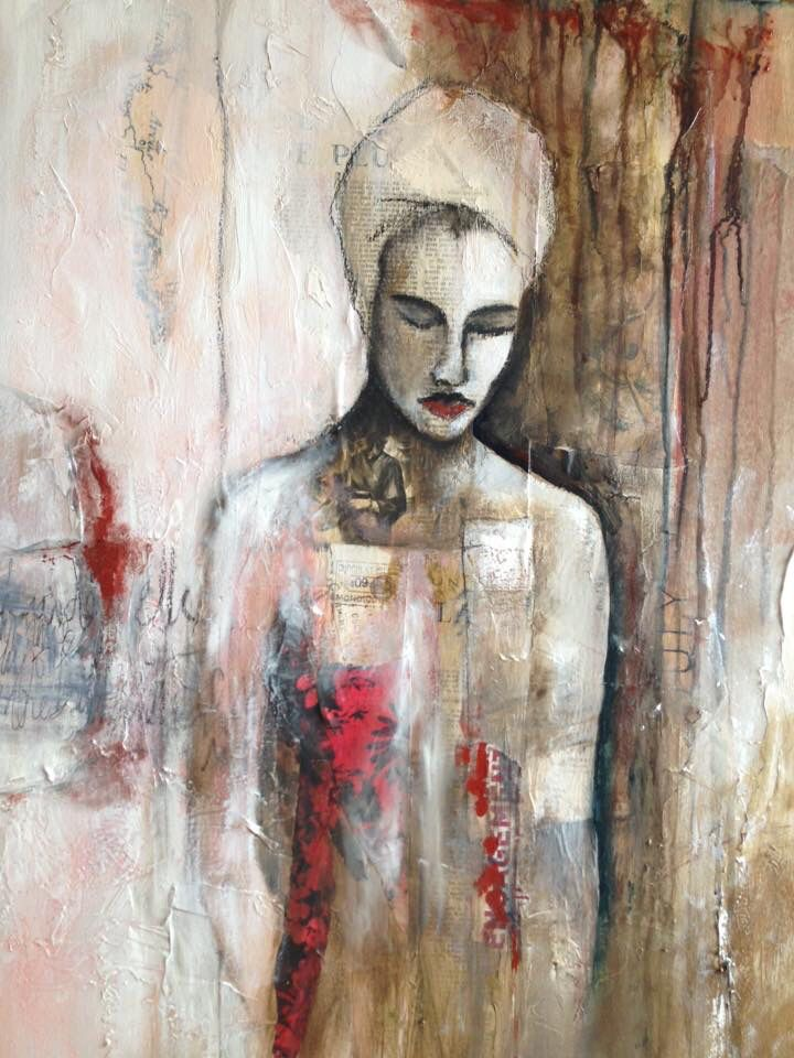 """la lectrice"" technique mixte sur toile mix media on canvas by Fatiha Riry 2017"