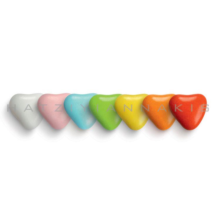 Καρδουλίτσες Χατζηγιαννάκη με γέμιση λαχταριστής σοκολάτας γάλακτος και φυσικά χρώματα.Χρώμα: πολύχρωμες Τεμάχια...