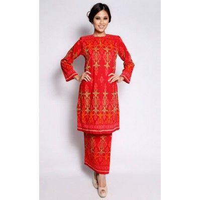Baju Kurung Pua Tenun in Red