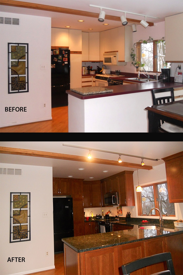 Before and after a pretty basic upgrade of cabinets and for Painting kitchen countertops before and after