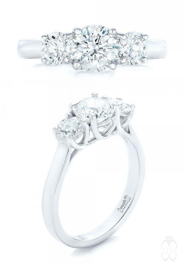 Joseph Jewelry Custom Three Stone Diamond Engagement Ring #JosephJewelry