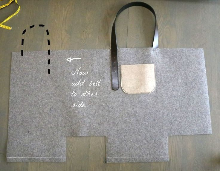 DIY One Piece Tote Bag using upycled belts as straps   Felt