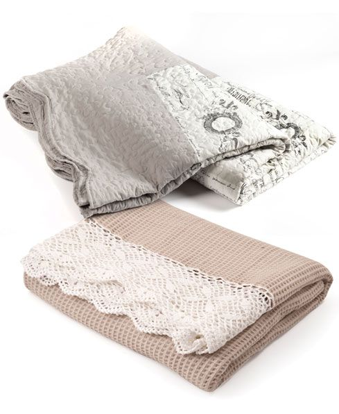Pretty throws make lovely layering pieces. Crochet-border throw R230, Mr Price Home. (French-script throw also from Mr Price Home)  http://www.goodhousekeeping.co.za/en/2013/05/french-country-style-on-a-budget/