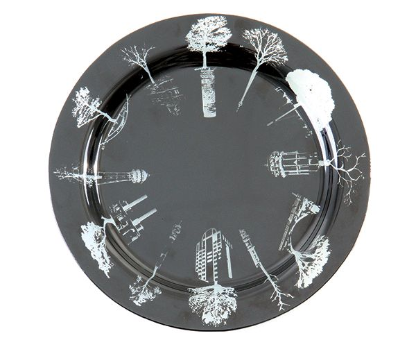 30cm Glass Symbols of the City Dining Plate. #decor #plates #glassware #black