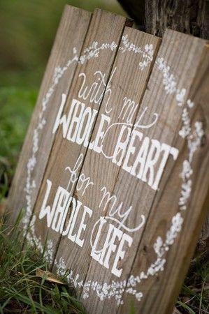 """With My Whole Heart"" Timber Wedding Signage - Lovebird Weddings, Noosa Australia"
