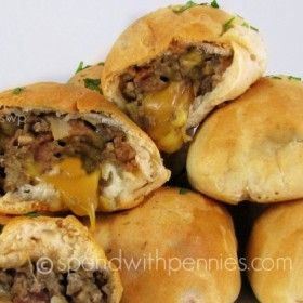 Bacon Cheeseburger Bombs - uses refrigerated canned biscuits - Baked