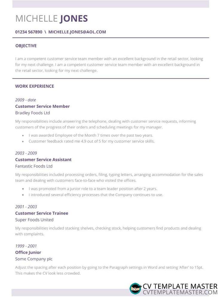 Customer service CV example subtle CV template with