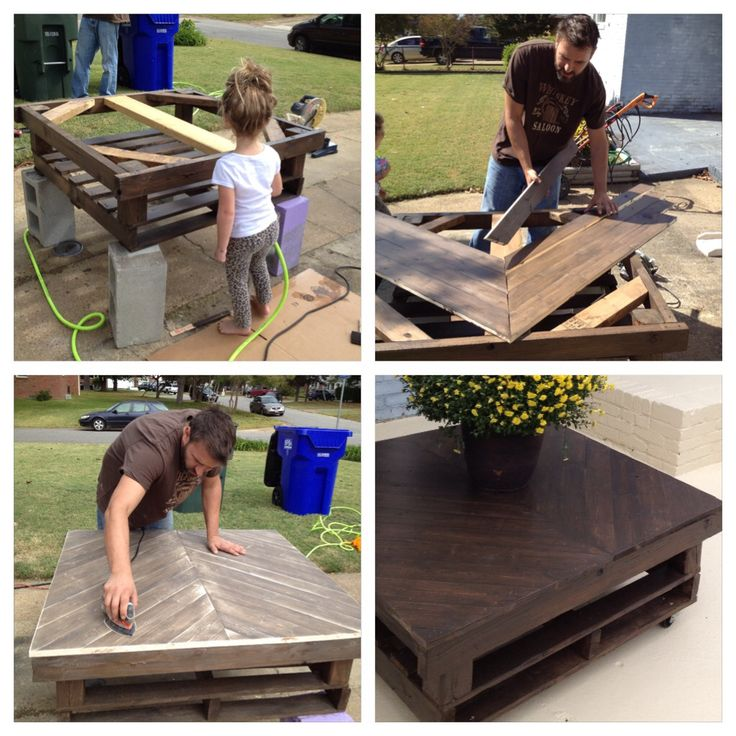 DIY upcycled dark stained chevron pallet table for fall decorations