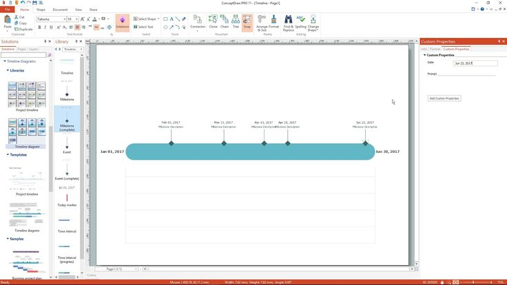 How to create a Project Timeline Diagram |  It is simple with ConceptDraw PRO,  just  drag various elements from the library (#milestones, #events, today marker) and place them on the #timeline. After entering the date, the event or the milestone will automatically adhere to the timeline.