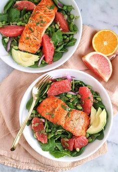 Brighten up your salad routine with this Grapefruit Salmon Salad with Citrus Vinaigrette! | The Nutrition Adventure