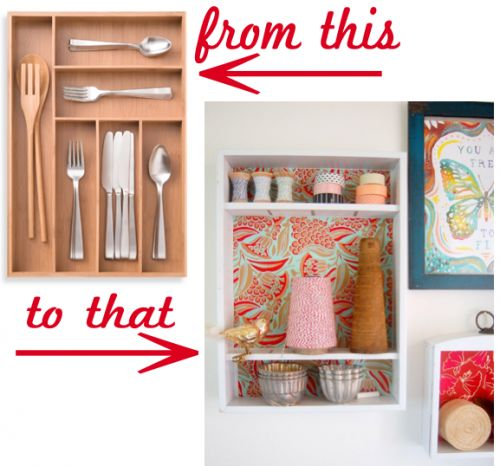 turn a silverware tray into a small shelf. This could be really cool done on a large scale on a whole wall in a craftroom for all those little things.