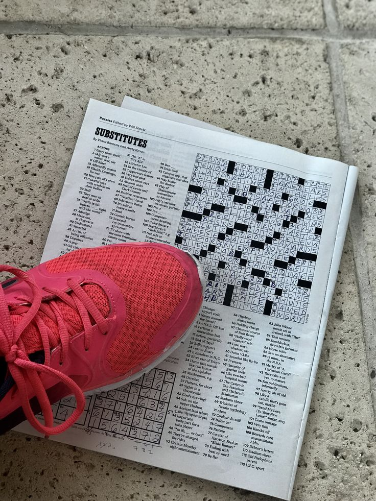 """Today's Sunday @NYTimes Crossword wasn't too bad, but didn't like the theme. The 20 across clue: """"Was part of a crew"""" = OARED made me think of Oakley and Red. Here's to #redsneakersforoakley on a Sunday. From Shauna Dell   . . . . #foodallergyawareness #foodallergies #allergies #livlikeoaks #anaphylaxis #life #red #redsneakers #family #friends #sunday #crossword"""