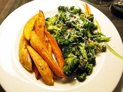 roasted broccoli and sweet potatos