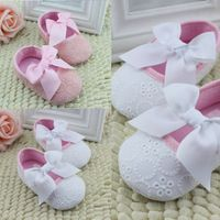 Linda bebê Prewalker sapatos da criança fita BowSoft antiderrapante sapatos 0 ~ 18 meses