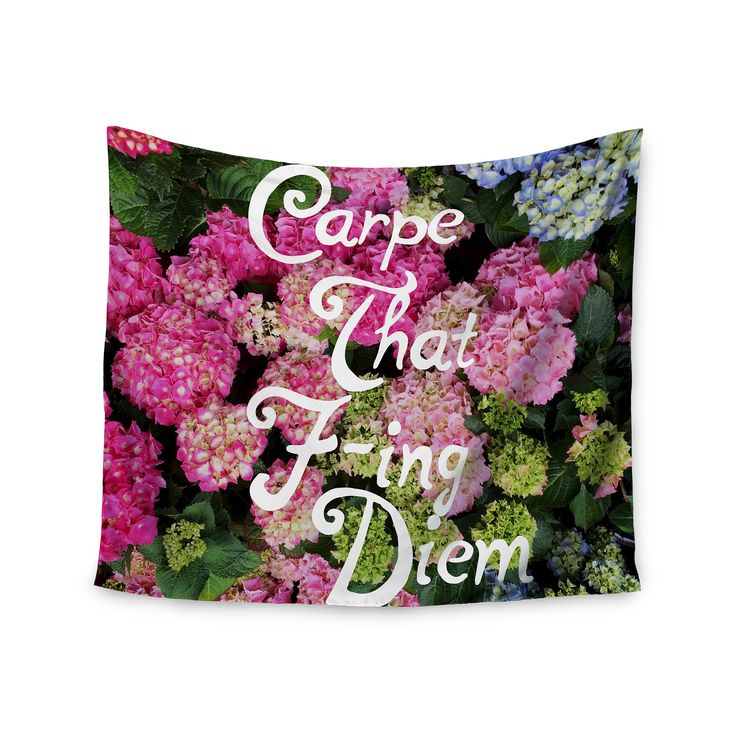 """Nature Pink Chelsea Victoria Carpe That FIng Diem Wall Tapestry (51""""x60"""") - Kess InHouse, Green"""