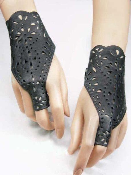 jewels gloves black leather cuffs bracelets