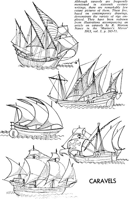 The caravel, developed by the Portuguese, was a ship that combined the square sails of European ships with Arab triangular sails. As well, this ship adapted the sternpost rudder and various masts of Chinese ships.  These adjustments made it easier to sail.