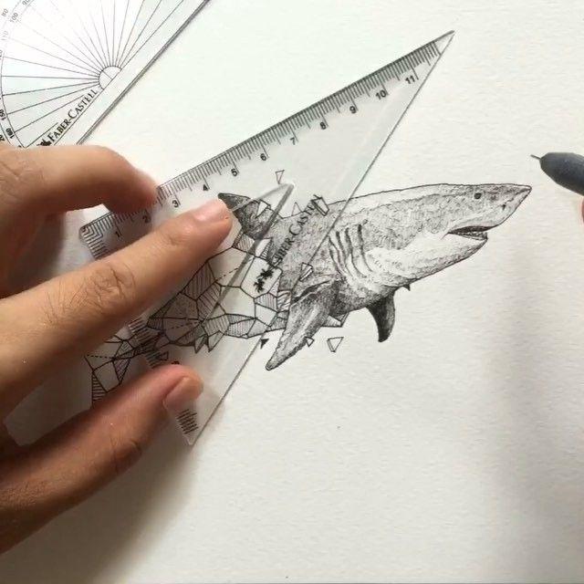 geometric beasts shark process timelapse