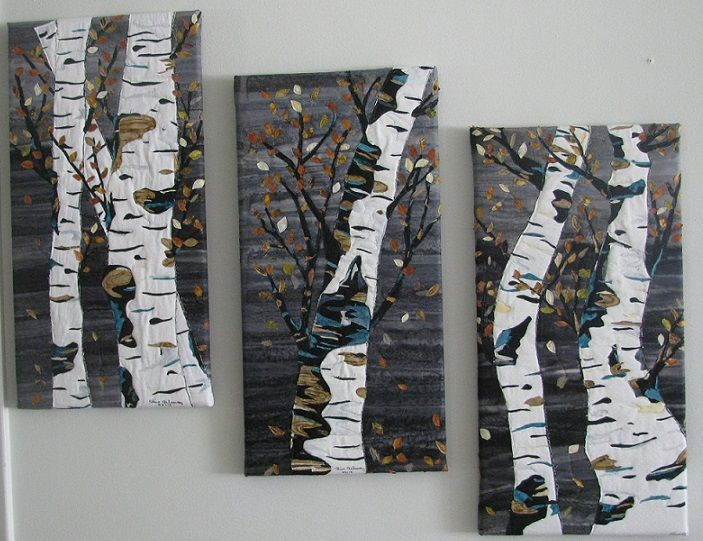 Birch Triptych #landscape quilt.  Raw edge applique collage, mounted on  canvas.  $85
