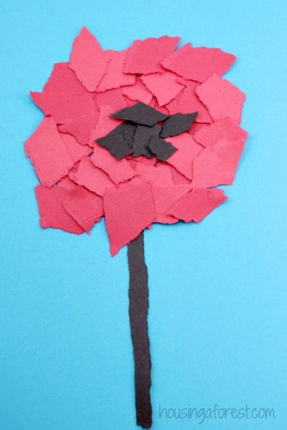 Torn Flower Craft ~ Veteran's Day or Remembrance Day Poppy for Kids
