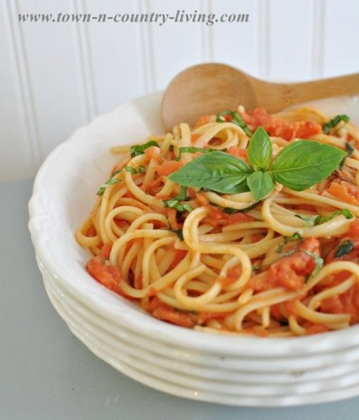 Best Ever Spaghetti with Tomato and Basil Recipe    Spaghetti with Tomato and Basil Sauce  20 fresh Roma tomatoes  2 tablespoons extra virgin olive oil  Pinch of crushed red pepper flakes  Sea salt and freshly ground black pepper  2 tablespoons butter  1/2 cup freshly grated Parmigiano-Reggiano (grate more if you want to sprinkle it on your spaghet