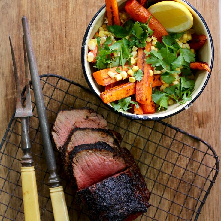 SOUTHERN BBQ BEEF WITH CHARGRILLED CARROT & CORN SALAD. You loved it so much we thought we would bring back the flavours of the Deep South to your dinner table with this wonderful rub and delightful BBQ salad. Simple, quick, healthy and oh so tasty. 30 Minutes.