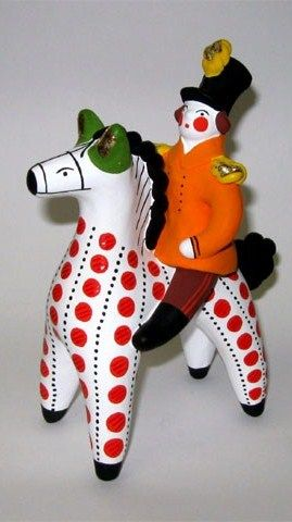 Dymkovo toy is a painted clay toy from the Russian village of Dymkovo. Officer on a horse. #folk #art #Russian #toy