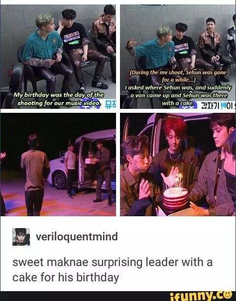 Sehun surprising Leader Suho with a birthday cake  EXO