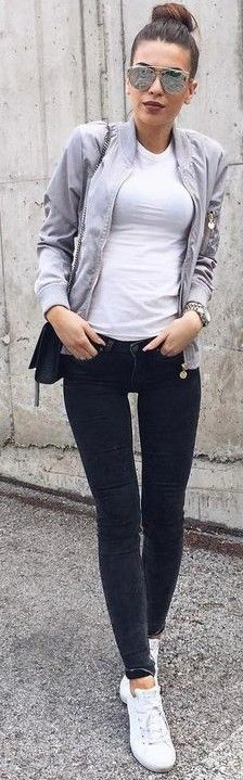 Grey Bomber Jacket + Black and White Source