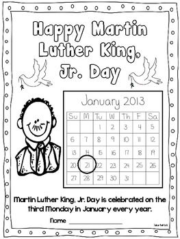 Martin Luther King Jr Freebies Includes Template For Class Book