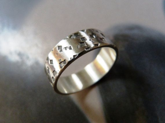 Mens ring Rustic Hammered Sterling silver Ring men's