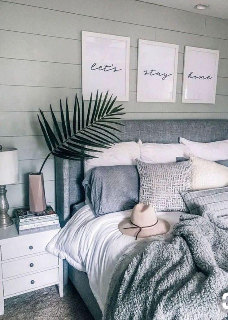 Grey Headboard White And Grey Theme Bedroom Decor Cozy Bedroom Inspirations Bedroom Design