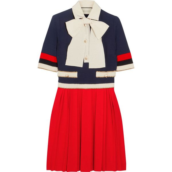 Gucci Bow-detailed ribbed knit-trimmed pleated stretch-crepe mini... ($1,905) ❤ liked on Polyvore featuring dresses, gucci, short red dress, embellished mini dress, red dress, collared dresses and red collar dress