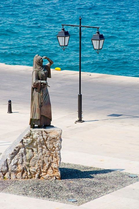 The statue of Laskarina Bouboulina (naval commander and heroine of the Greek War of Independence) at the port of Spetses  https://www.facebook.com/poseidonion?sk=photos