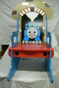 Thomas The Tank Train Engine Wood Wooden Toddler Rocking Chair 1997 Rare