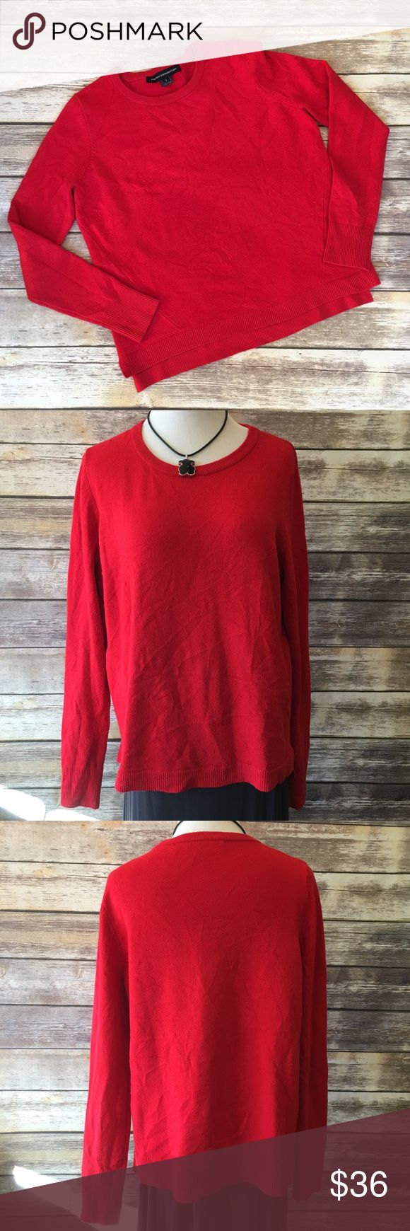"French Connection Red Oversized Sweater French Connection Red Oversized Sweater. The vibrant red color pairs perfectly with leggings or jeans. Measures pit to pit 21""/ front length 24""/ back length 25. Has a few signs of pilling under the pit area. Runs big French Connection Sweaters Crew & Scoop Necks"