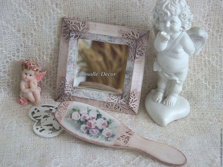 """Купить Зеркало маленькое """"Винтажные розы"""" - белый, шебби, прованс, зеркало, деревянное зеркало"""