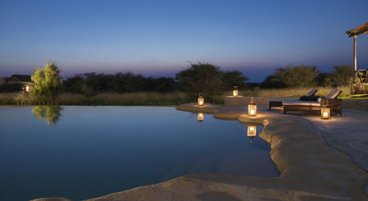 Beautiful swimming pool design in the Savannah at dusk. Anantara Sir Bani Yas Island, Al Sahel Villa Resort, Abu Dhabi, UAE  #SirBaniYas #AbuDhabi #Anantara #AlSahelVillaResort #Luxury