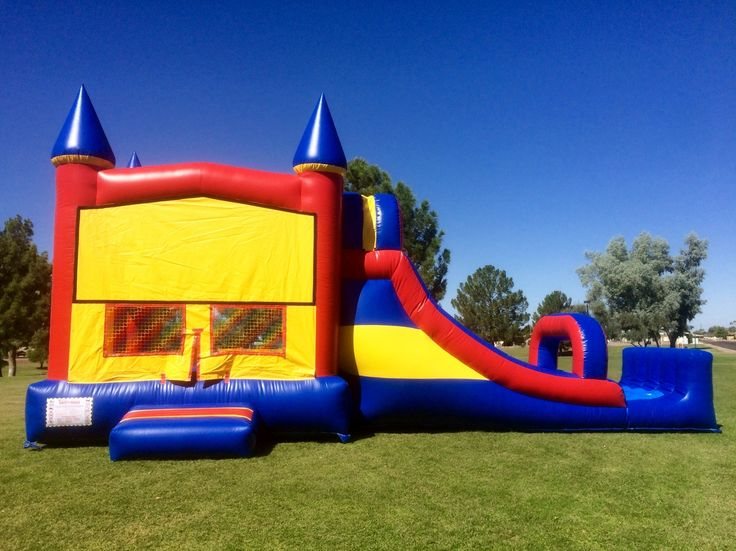 Awesome red yellow blue combo bounce house slide with bumper. Can be used dry or with water! Customizable theme panels available. East Valley Bounce - Bounce House Rentals, Waterslide Rentals. Mesa, Arizona