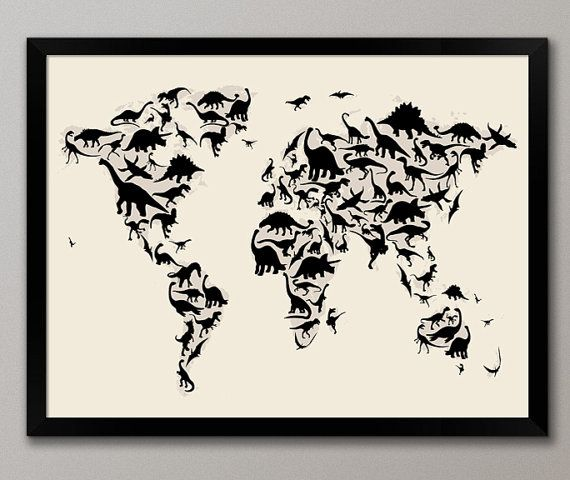 Dinosaur Map of the World Map Art Print, maybe for Kade's room? I'm determined to have my love of dino's wear off lol
