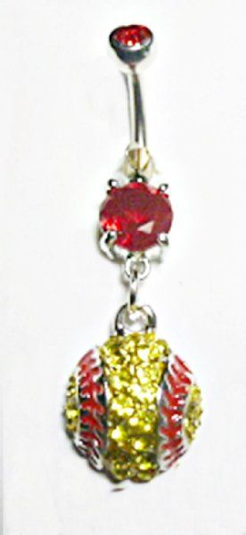 Baseball / Softball Golden CZ Covered Sports Dangle Belly Ring Body Jewelry:Amazon:Everything Else