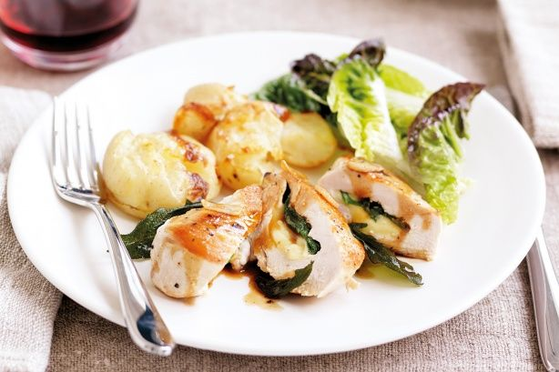 Save your pennies and impress with this budget gourmet dish of cheese and sage stuffed chicken!