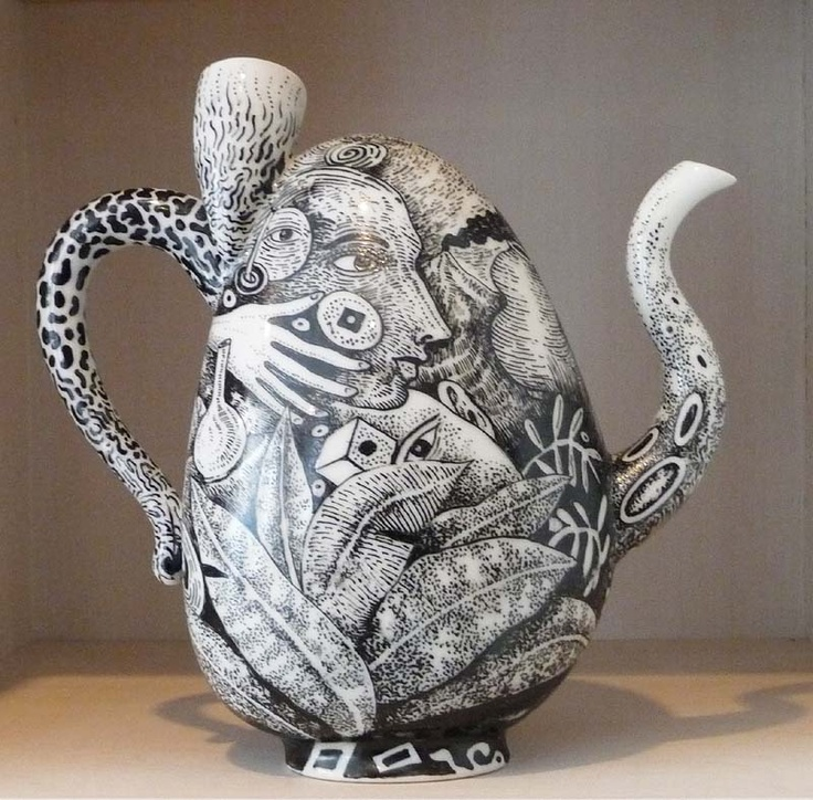 Kurt Weiser,USA, is Internationally recognized as a contemporary ceramic artist and educator. Weiser is known for his technical virtuosity with porcelain forms and his use of china painting techniques in a distinct contemporary style. His subject matter illustrates lush, mysterious landscapes and distorted narratives set amidst colour-saturated flora and fauna that read as voyeuristic candid snapshots of the human condition.
