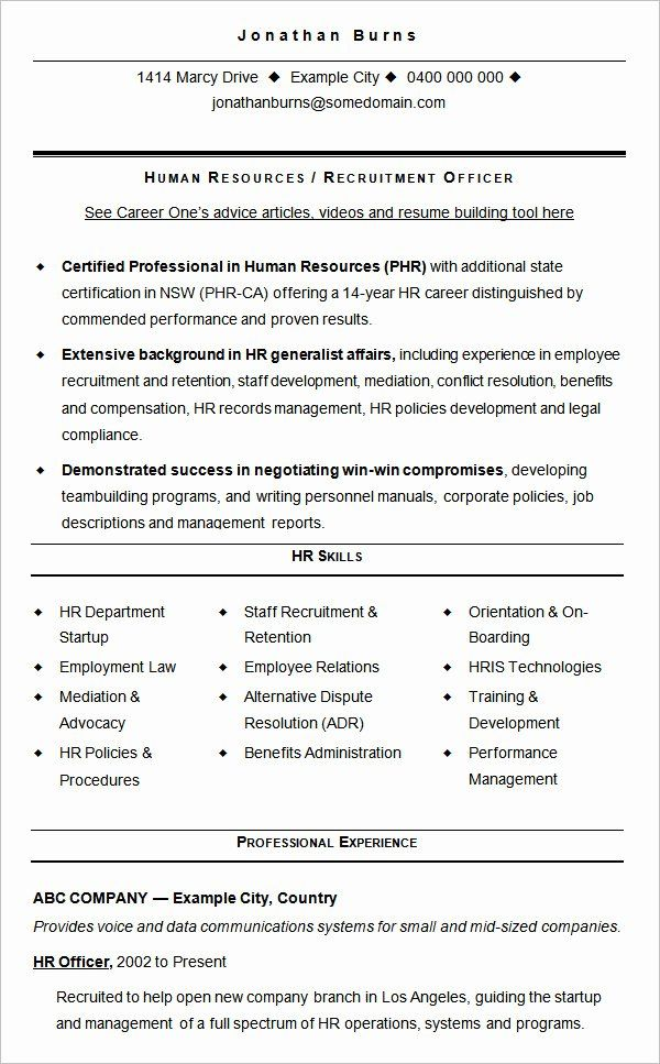 Human Resource Administrator Resume Fresh 21 Best Hr Resume Templates For Freshers Experienced Wises In 2020 Human Resources Resume Hr Resume Sample Resume Templates